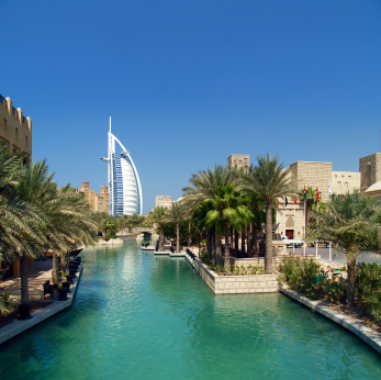 Travel to Dubai: wild wadi water park in dubai,  The Dubai Fountain. Low cost vacation packages.